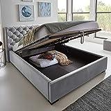 Designer Bett mit Bettkasten ELSA Samt-Stoff Polsterbett Lattenrost Doppelbett Stauraum Holzfuß...