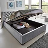Designer Bett mit Bettkasten ELSA Samt-Stoff Polsterbett Lattenrost Doppelbett Stauraum Holzfu...