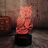 3D Eule Nachtlicht,7 Farben Berührungssteuerung Zuhause Dekor Tischleuchte,Optische Illusion LED...