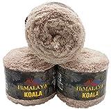 Ilkadim Himalaya Koala 3 x 100 Gramm Plüschgarn, Fransengarn, 300 Gramm Strickwolle mit Plüsch...