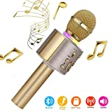 Karaoke-Mikrofon, Bluetooth, kabellos, Karaoke-Mikrofon fr Kinder, paarbar fr Duetten mit bunten...