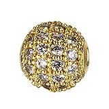 Sourcingmap Abstandshalter-Perlen, 8 mm / 10 mm, Mikro-Pavé-Zirkonia, rund, Kugelform, zum...