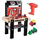 iBaseToy Werkbank Kinder, 91 Stück Kunststoff Werkzeugbank Werkzeuge Spielzeug für Kinder ab 3...