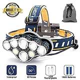 Stirnlampe,8 LED 18000 Lumen Kopflampe,Superheller USB Wiederaufladbare Wasserdicht Leichtgewichts...