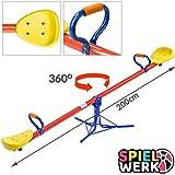 Spielwerk Wippe für Kinder Dämpfer & gepolsterte Griffe 200x67x70cm bis 70kg 360°drehbar...