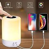 solawill LED Nachttischlampe, Nachtlicht Touch Dimmbar mit 4 USB Fast Anschlüsse 8 Farben RGB und...