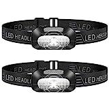 Stirnlampe LED, 2 Stück Leichtgewichts Kopflampe, Superheller USB Wiederaufladbare Wasserdicht...