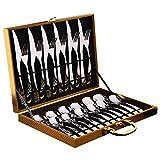 Amrta Besteck 12er/24er Set Für 4/6 Personen mit 4/6 Messer 4/6 Gabeln 4/12Löffel Für Familie...