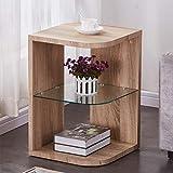 GOLDFAN Beistelltisch Rund Holz Moderner Klein Couchtisch Sofa Beistelltisch Nachttisch Glas für...