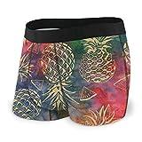 RUIP Herren Boxershorts, goldfarben, Ananas, Batik, farbig, Unterwsche, atmungsaktiv, Unterhose Gr....