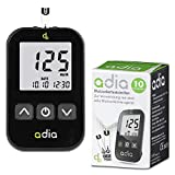 adia Blutzuckermessgerät (mg/dl) inkl. 10 Teststreifen für Diabetiker zur Kontrolle des...