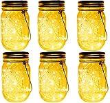 6 Stück Solarlampe/Solar-Laterne im Einmachglas fur Garten LED Wetterfest Solar Einmachglas Aussen...