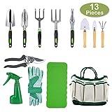 Crenova 10-teiliges Gartenwerkzeug-Set - Gartengerte, Gartenschere, Gartenhandschuhe, Gartentasche,...