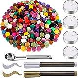 300 Stück Mischfarben Siegelwachs Perlen mit 4 Stück Teekerzen, 2 Stück Siegelstiften und...