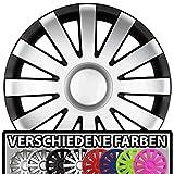 Eight Tec Handelsagentur (Farbe & Größe wählbar!) 16 Zoll Radkappen AGAT (Schwarz-Silber matt)...