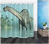 fptcustom Bad Wasserdichtes Gewebe Duschvorhang Polyester 12 Haken Bad-Accessoire-Sets 3D...