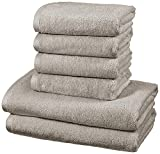 AmazonBasics - Handtuch-Set, schnelltrocknend, 2 Badetücher und 4 Handtücher - Platingrau, 100...