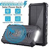 Solar Powerbank 20000mAh, Externer Akku Tragbares Solarladegeräte Mit IQ Wireless/USB C/PD für...
