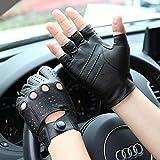 QPLKL Handschuhe Fingerlose Lederhandschuhe für Männer Fahren, halbe Finger, Fahren...