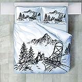 FAIEK Bettwäsche Set 1 Bettbezug 2 Kissenbezug - - Weihnachten Weich Und Bequem Atmungsaktiv...