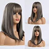 Wigs For Women Medium Wavy Wig Long Wig With Frigne With Bangs High Temperature Synthetic Wigs For...