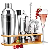 Baban Cocktail Shaker Set, 10tlg Cocktail Set, Bartending Set mit Bambus-Aufbewahrung,...