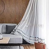 ZYY-Home curtain Geometrischer Voile Vorhang Stickerei Wohnzimmer Transparente Gardine Kräuselband...