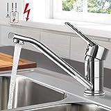 Niederdruck Küchenarmatur, WOOHSE 360° Drehbare Wasserhahn für Küche, Einhand-Spültischbatterie...