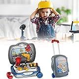 Gravere Kinder-Werkzeug-Set mit Koffer, Werkbank, Spielwerkzeug, Zubehör-Set mit Bohrer für Jungen...