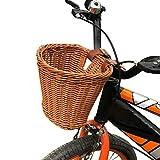 FreshWater Fahrradkorb für Kinder, Lenkerkorb, Kunststoff, Rattankorb, mit braunen Lenkergurten,...