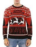 Aibrou Herren Weihnachtspullover Winter Lang Strickpulli Pullover Rundhalsausschnitt Sweater mit...