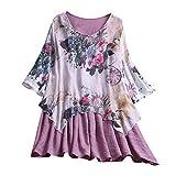 TAMALLU Sweater Damen Rundkragen Bluse Vintage Blumen Gedruckt Lose Tee Party Pullover...