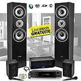 Lautsprecherset E1004, Schwarz, HiFi/Heimkino, 850 W, LTC + Verstrker ATM8000 Karaoke, 2 Mikrofone,...
