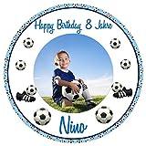 Tortenaufleger Tortenbild Geburtstag Jungen blau Kindergeburtstag Sport Fußball mit eigenem Foto...
