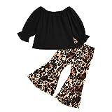 Infant Baby Kleidung Set Mädchen Langarmshirts Rüschenoberteil T-Shirt + Leopard Flare Hosen...