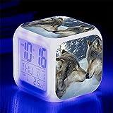 Linster CC Kinderwecker Digitaler Wecker LED Wake Up Nachttischuhr 7 Farbwechsel Quadratischer...