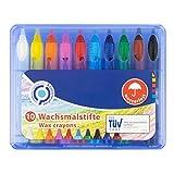 Wachsmalstifte, wasserfest, 10 Stück in einer Box, ideal für Kindergarten, Schule und Zuhause