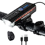 Fahrradlichter-Set, wasserdicht, wiederaufladbar über USB, LED-Fahrradscheinwerfer mit Hupe und...