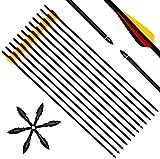 Narchery 12 Stück Pfeile, 31 Zoll Carbonpfeile Bogenpfeile mit Kunststoffbefiederung für Bogen,...