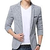 Herren Anzugjacke Casual Freizeit Sakko Business Blazer Slim Fit Grau XL
