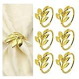 COCHIE Serviettenringe Gold,Metall serviettenring Serviettenschnallen Blätter für Hochzeitsfeier...