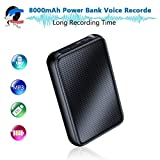 Digitales Diktiergerät, 8000mh Power Bank Bis zu 60 Tage kontinuierliche Aufnahmegerät, 32 GB 2400...