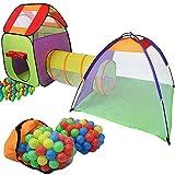 KIDUKU Kinderspielzelt Bällebad Pop Up Spielzelt Iglu Spielhaus + Krabbeltunnel + 200 Bälle +...