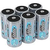 ANSMANN Akku D 10000 mAh NiMH 1,2 V (6 Stück) - Mono D Batterien wiederaufladbar, hohe Kapazität &...