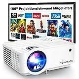 Mini Beamer, TOPVISION 5500 LUX Heimkino Video Beamer mit 240 Zoll Screen, Native 720P Unterstützt...