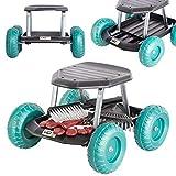 UPP Gartenwagen Rollsitz bis 130 kg mit Ablage für kleine Gartengeräte | Sitzhöhe 33 cm | Knie-...