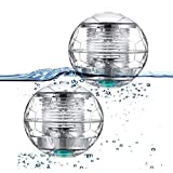 Herefun 2 Stück Solar Schwimmende Pool Licht, Poolbeleuchtung Wasser Schwimmende Lampen Solar...