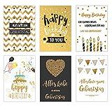 Edition Seidel Set 6 exklusive Geburtstagskarten mit feiner Goldprägung und Umschlag....