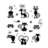 Domybest Wandsticker, niedlich, Katze, abnehmbar, Wandtattoo, Wohnzimmer, Empfang, Kinder,...