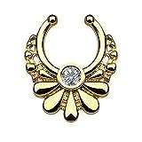 Piercingfaktor® Fake Piercing Universal Ring Septum Vintage Tribal Blüten mit Kristall...